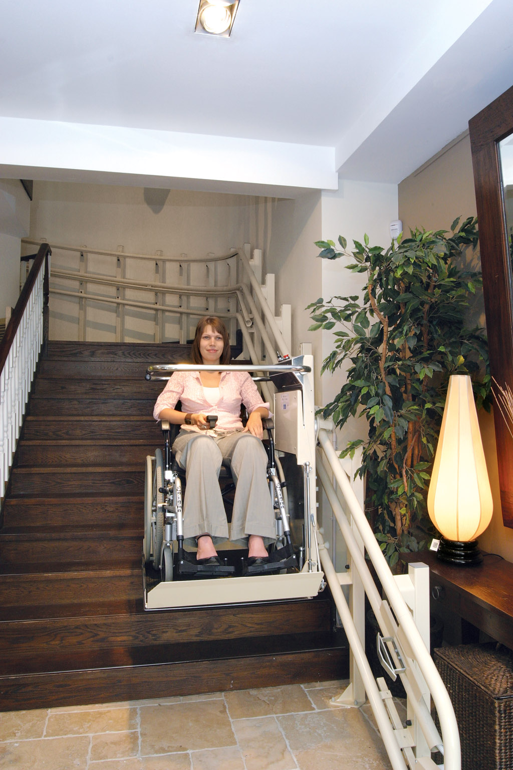 woman using disabled access lift