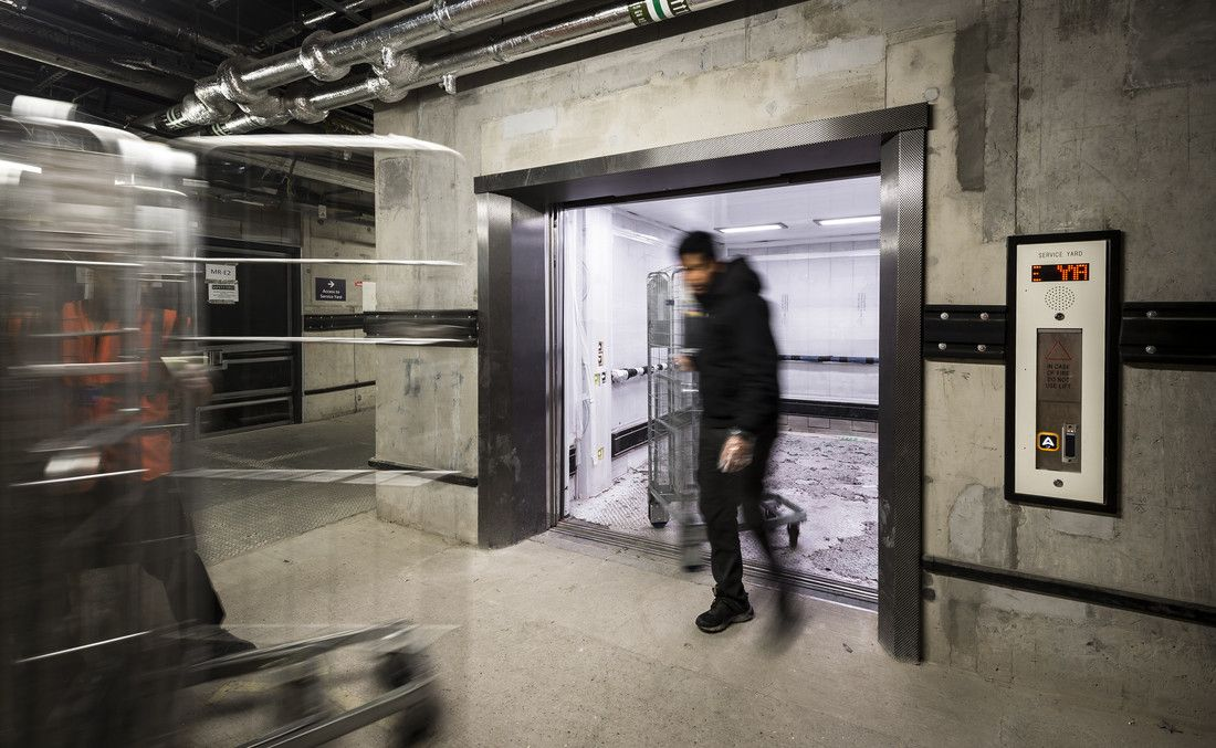 a 66-person heavy duty goods lift installed by Stannah in London Bridge Station